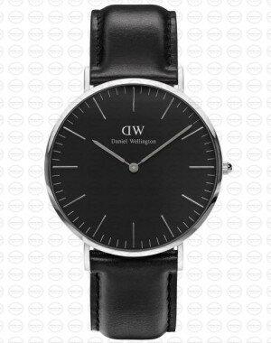 40MM 0133DW 黑錶面 真皮黑錶帶 瑞典正品代購 Daniel Wellington 男錶手錶腕錶 0