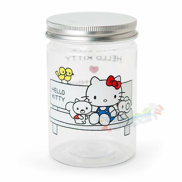 【真愛日本】4901610062296塑膠置物罐-KT長凳ADM凱蒂貓kitty三麗鷗家族置物罐收納罐塑膠