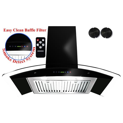 "AKDY 36"" AK-3S866BK-90CF Stainless Steel Wall Range Hood Carbon Filter For Ventless/Ductless 0"