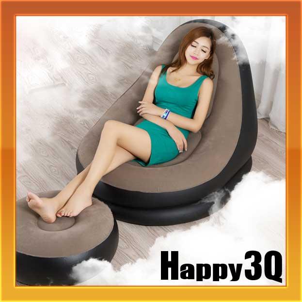 休閒舒適放鬆午休可折疊充氣懶骨頭懶人沙發附腳凳+頸枕【AAA0640】