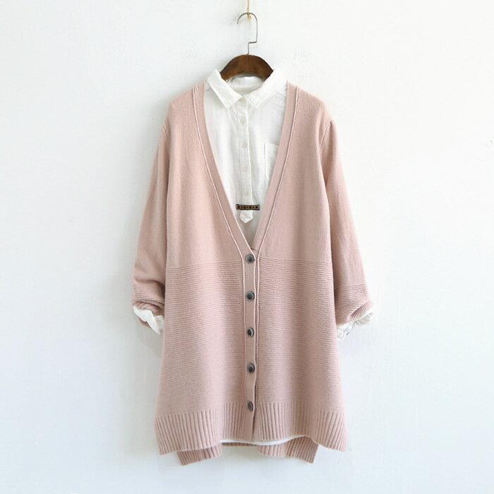 預購。[全店免運] 純色V領橫條紋寬下擺長袖針織開衫外套 / 樂天時尚館