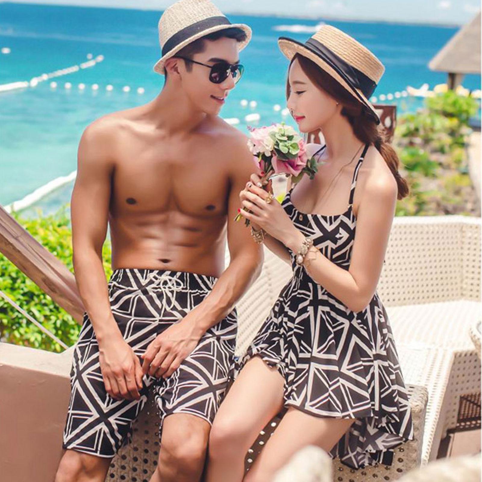 泳褲 幾何圖案兩件式遮肚連身比基尼海灘褲情侶泳裝泳衣~O3096~~雙兒網~