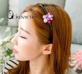 BHI1091-法國品牌RenaChris 可愛珍珠小花髮圈 髮箍【韓國製】