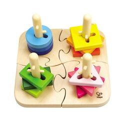 德國 Hape愛傑卡 創意椿木幾何拼圖