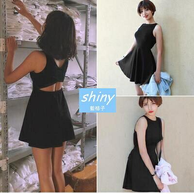 【V0912】shiny藍格子-美感魅力.圓領小露背腰無袖背心連身裙