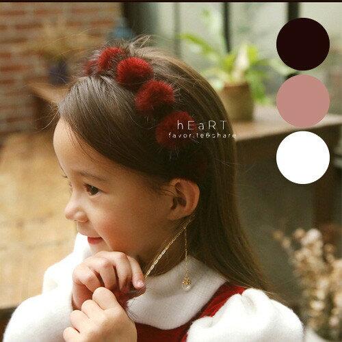 小花拉拉:絨毛球垂墜鍊條髮箍兒童髮飾髮箍造型髮箍