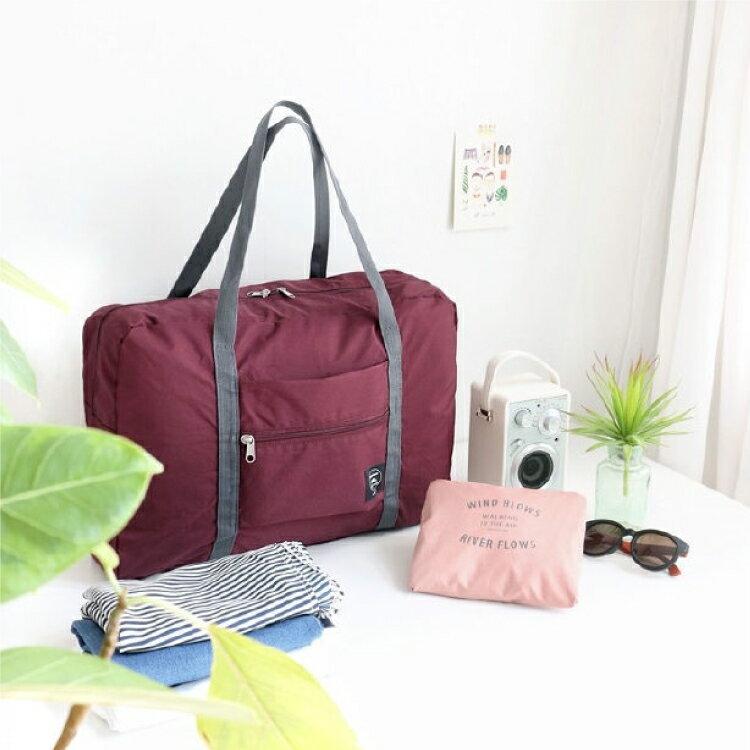【PU材質/摺疊】手提袋 出國旅遊旅行 摺疊  行李袋 收納袋 環保袋 購物袋-紫/粉/淺藍/深藍【AAA6022】