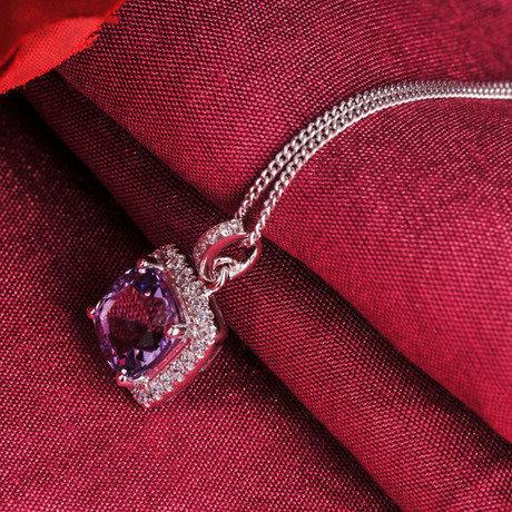 璀璨系列二飾品銀鑲嵌紫水晶項鏈女款鎖骨鏈