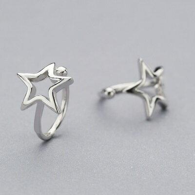 ~925純銀耳環星星耳扣~鏤空五角星亮面夾式男女飾品73ql35~ ~~米蘭 ~