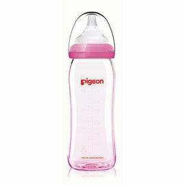 【淘氣寶寶】貝親PIGEON矽膠護層寬口母乳實感玻璃奶瓶240ml粉搭配L奶嘴P26739L