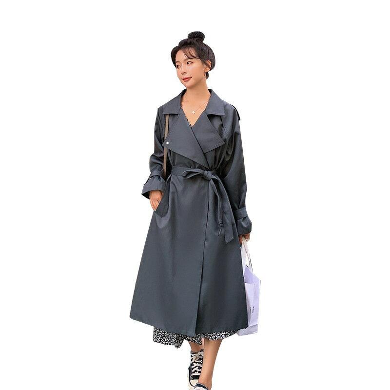 風衣大衣長版外套-翻領寬鬆繫帶休閒女外套73yt49【獨家進口】【米蘭精品】