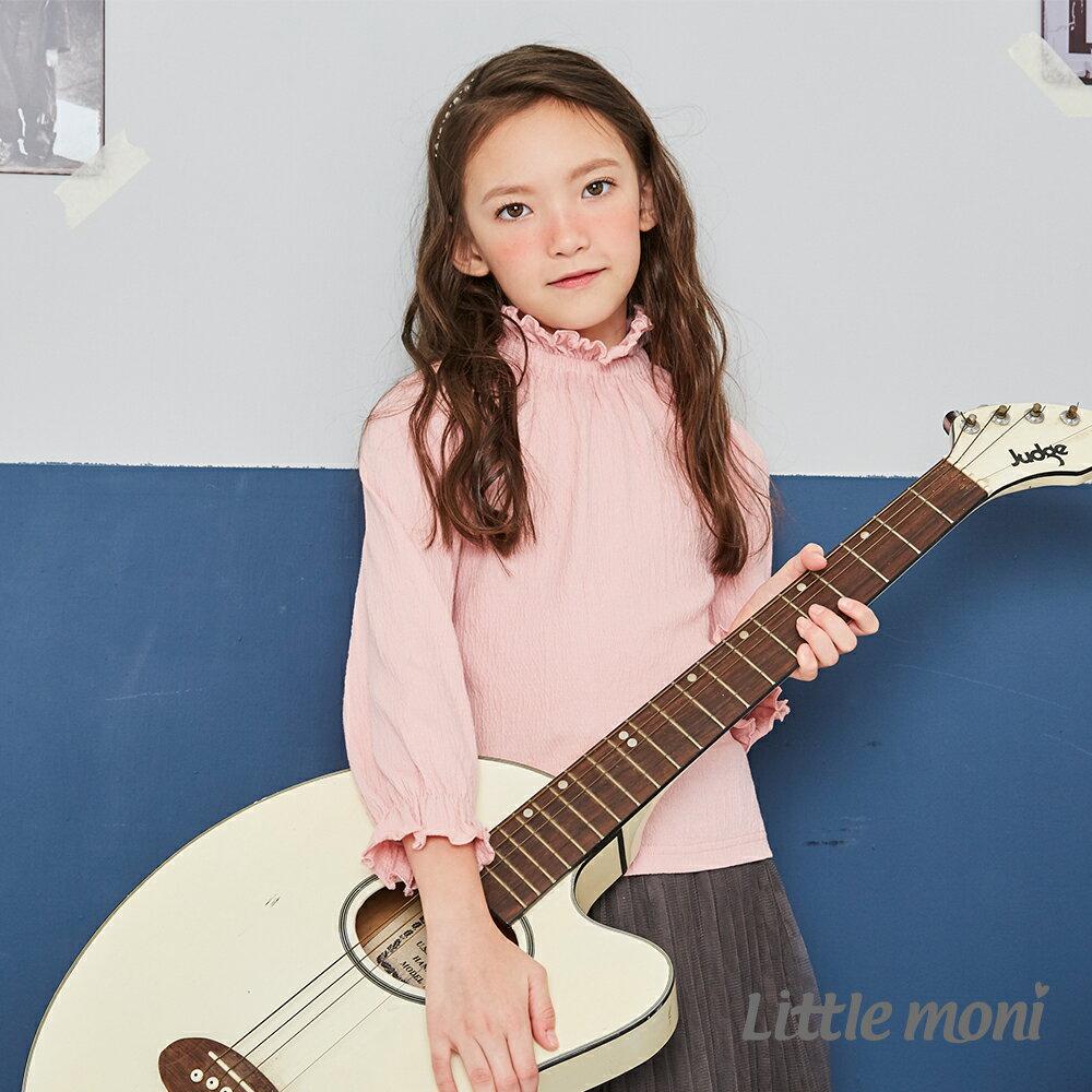 Little moni 荷葉高領上衣-粉紅 1