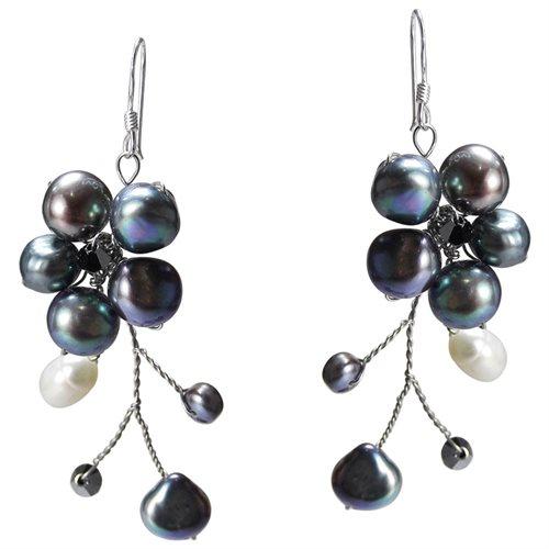 Dreamy Nature Black Pearl Flower .925 Silver Earrings 0