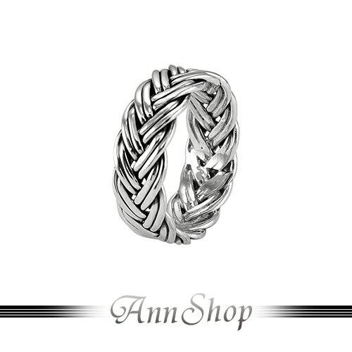 AnnShop~925純銀‧整圈雙線辮子戒指~銀飾飾品 情人 r91415