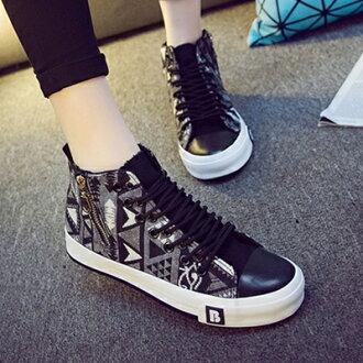 帆布鞋 休閒鞋-潮流韓風拼色側拉高筒平底女鞋子3色72ac19【獨家進口】【米蘭精品】