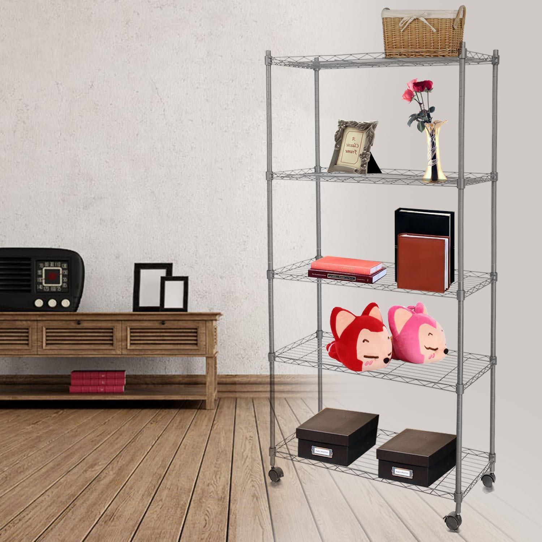 5-Shelf Wire Shelving Rack Shelves with Wheels 14 x 29 x 61inch 3
