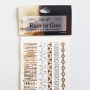 Écrire刻在心版上的燙金紋身貼紙 / Rest in GOD / 每套含5款設計 / 燙金紋身貼紙 / 紋身貼紙