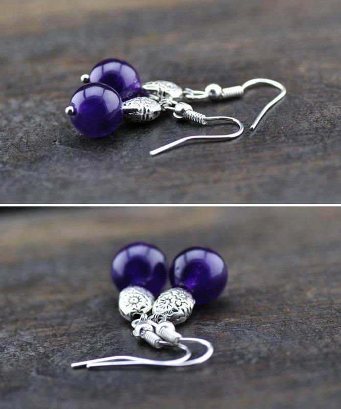 10mm紫水晶銀耳環女款飾品491B
