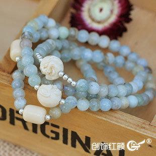花海藍寶多層手鏈 極品海藍寶水晶108顆串珠多層多圈手鏈 女