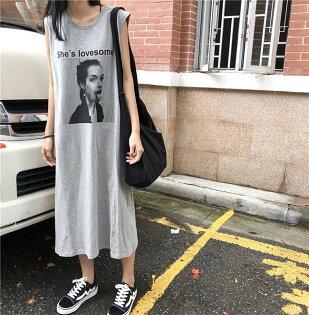 無袖洋裝印花寬袖口寬鬆簡約無袖洋裝連身裙【MY860】BOBI0705