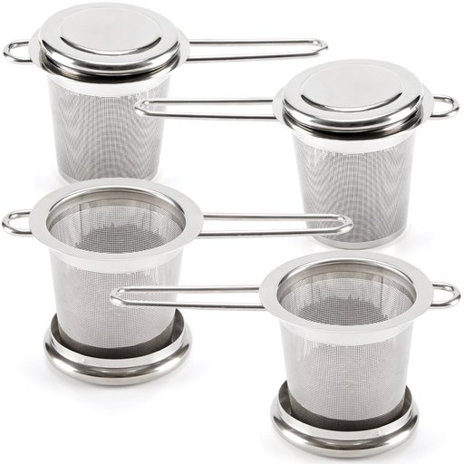 Tea Infuser EZOWare [Set of 4] Premium Stainless Steel Filter Reusable Mesh Filter Strainer With Lid and Handle, Perfect for Steeping Loose Leaf Tea 19b313c104e56f0d6c2509a4c8e5a46a