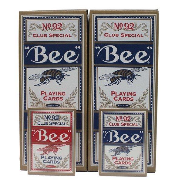 撲克牌 美國 92蜜蜂牌撲克牌 Bee 92撲克牌/一副入(促160) 美國正92橋牌 金邊紅色藍色 撲克牌-正美國原裝-文