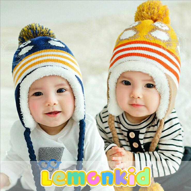 Lemonkid◆ 可愛小企鵝編織繩毛球保暖兒童冬帽護耳帽
