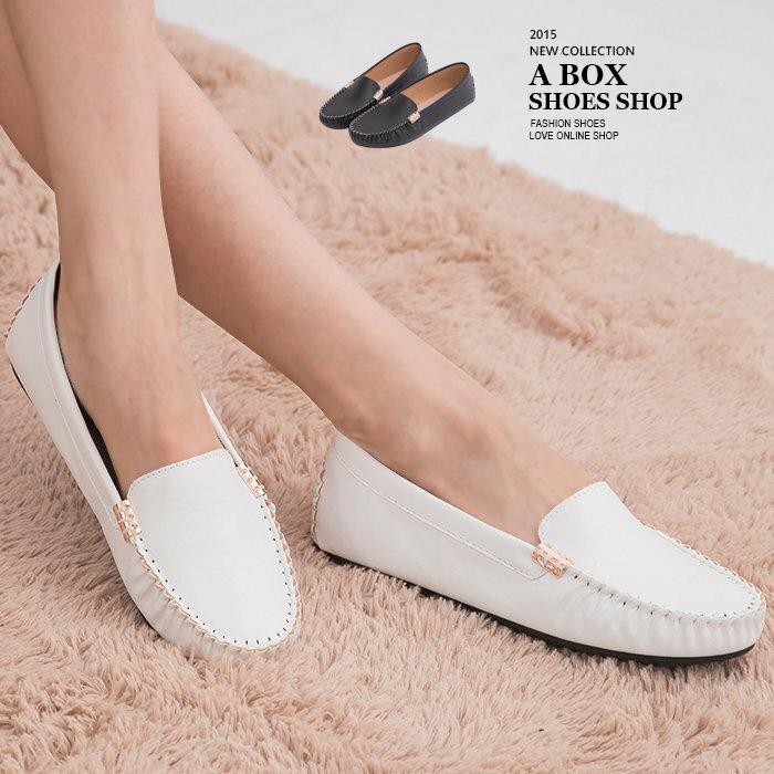 ~AI3919~MIT 製 款皮革素面金屬車線 休閒平底包鞋豆豆鞋 2色