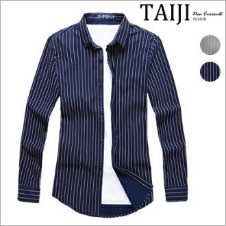 長袖襯衫‧商務基本款條紋撞色襯衫‧二色【ND92012】-TAIJI