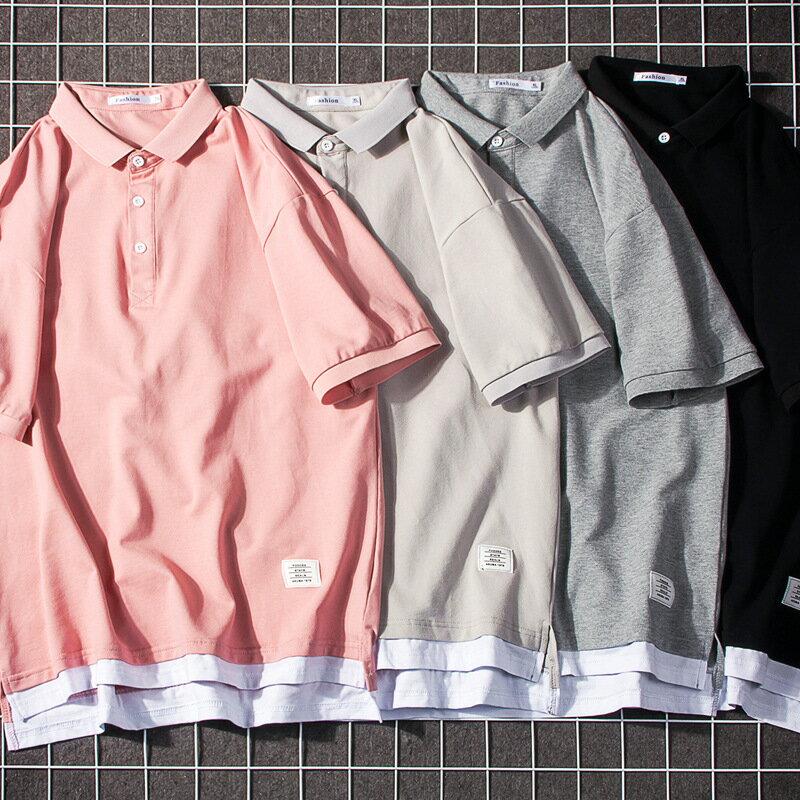 2020polo衫 男式夏季新品翻領 日系男裝短袖 假兩件拼接衣服半袖