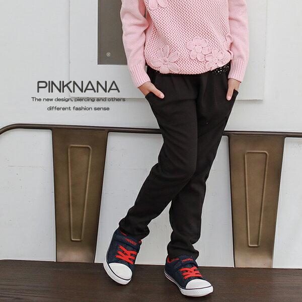 Pink Nana:PINKNANA童裝大童黑色點點剪接棉質黑色長褲32265
