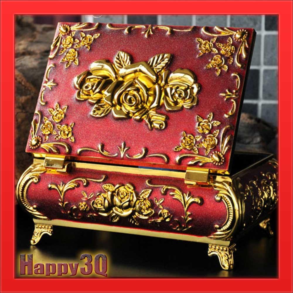 磨砂 精緻玫瑰雕花華麗哥特歐洲風格附鏡貴族首飾盒小物收納盒-銀 紅 藍 黑【AAA1039】