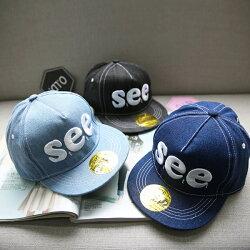 PS Mall 韓版嘻哈帽兒童帽字母SEE韓版潮刺繡街舞棒球【B011】