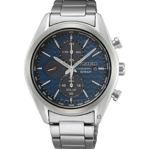 SEIKO 精工 喬治亞羅設計三眼計時太陽能腕錶(SSC801P1)V176-0BH0B