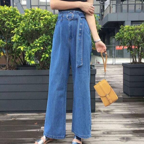 高腰複古顯瘦百搭寬褲(S~XL)