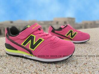 Shoestw【KV996MDY】NEW BALANCE 996 童鞋 運動鞋 中童 桃紅 螢光黃黑
