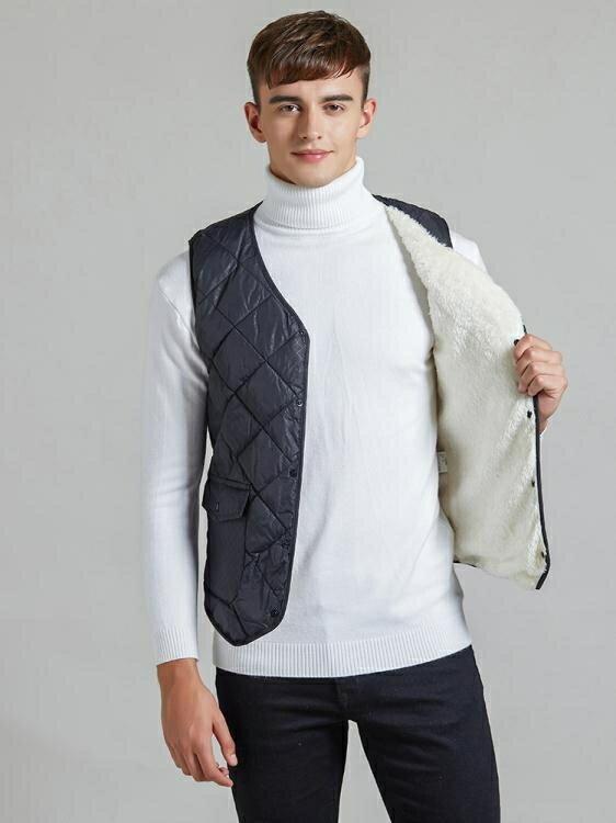 爸爸裝 保暖羽絨棉馬甲男輕薄冬季新款內穿棉背心中老年加厚馬甲羊羔絨潮【小天使】