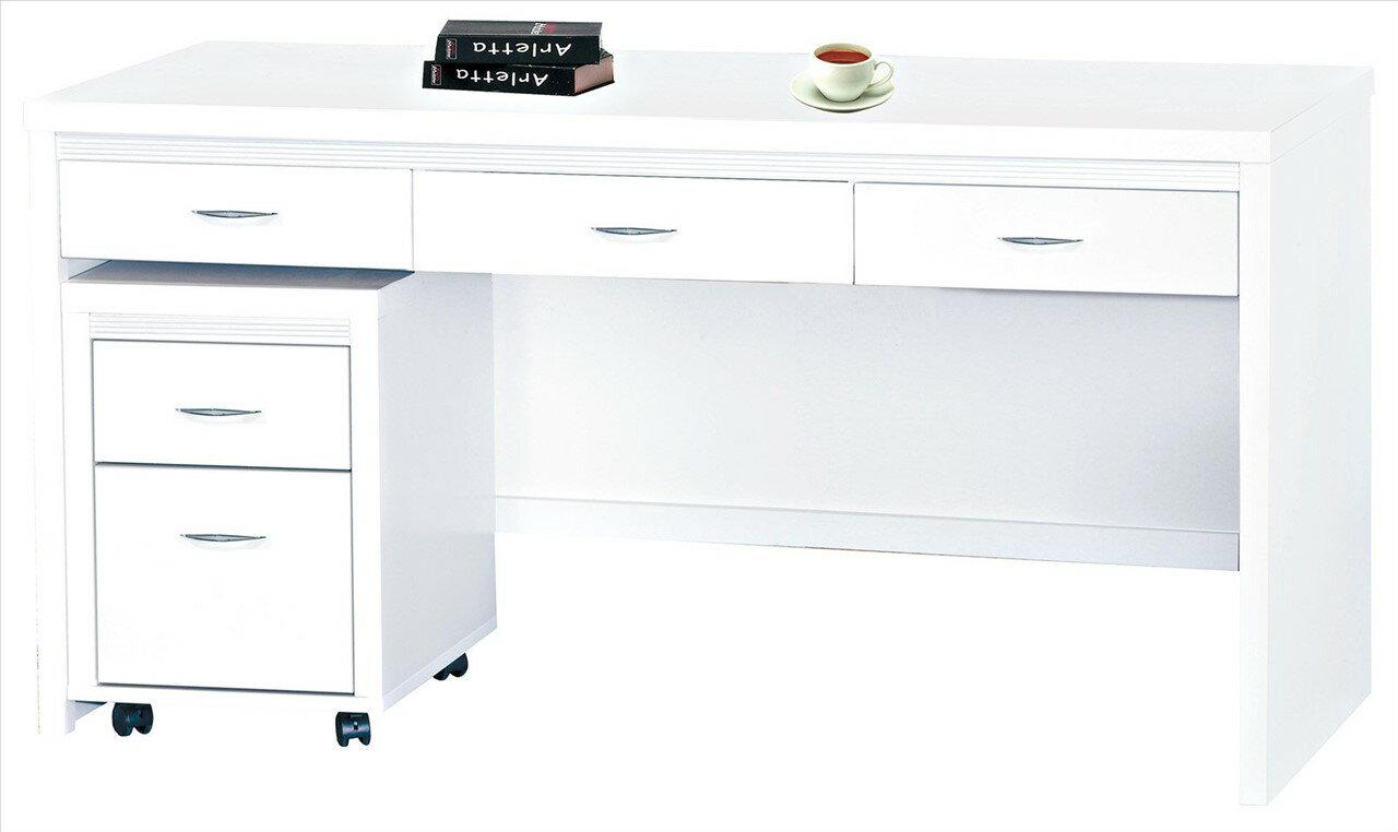 【石川家居】CE-495-05 艾拉白色五尺書桌 (不含活動櫃) 台中以北搭配車趟免運