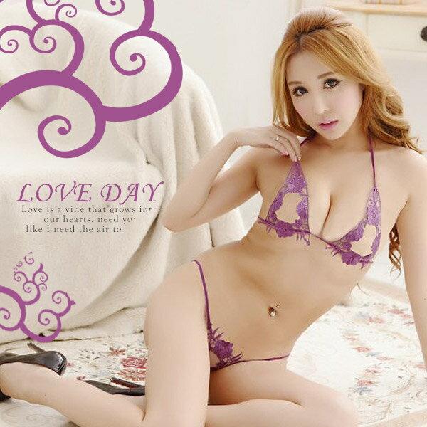 ◤亞娜絲情趣用品◥誘惑美姬.唯美縷空刺繡比基尼- 紫色