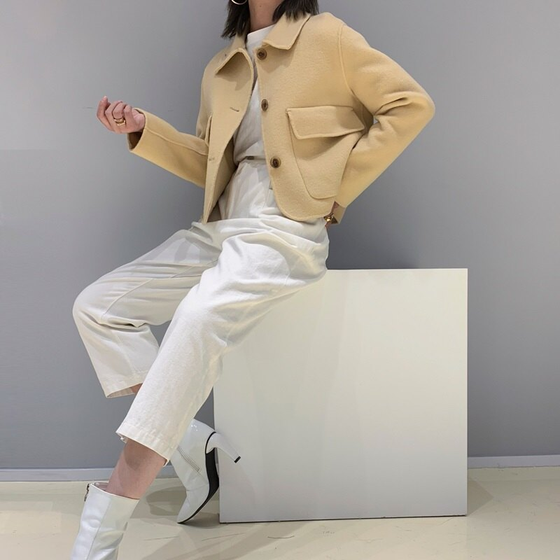 毛呢大衣羊毛外套-短款翻領純色寬鬆女外套2色73wb22【獨家進口】【米蘭精品】 1