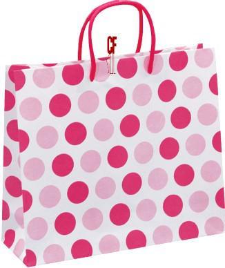 紙袋3K~25入~粉紅圓點~棉把手 pbag~038
