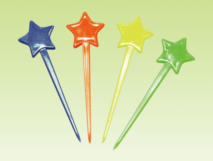水果叉、水果針 D~5B06 星頭果針 ~ 450pcs 包(4色)