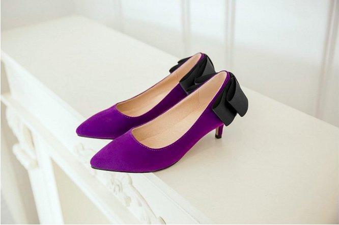 Pyf ♥ 甜美優雅 平面雙色緞帶蝴蝶結 細低跟 尖頭鞋 43 大尺碼女鞋