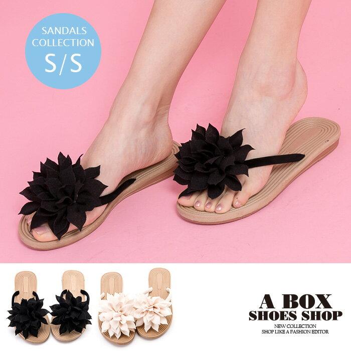 【ASA05】夾腳拖/人字拖 1.5CM平底跟高 夏日風情花朵絨面材質 2色