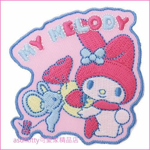 asdfkitty可愛家☆美樂蒂小老鼠燙布貼-可燙貼在衣服或布料包包上-日本版正版商品