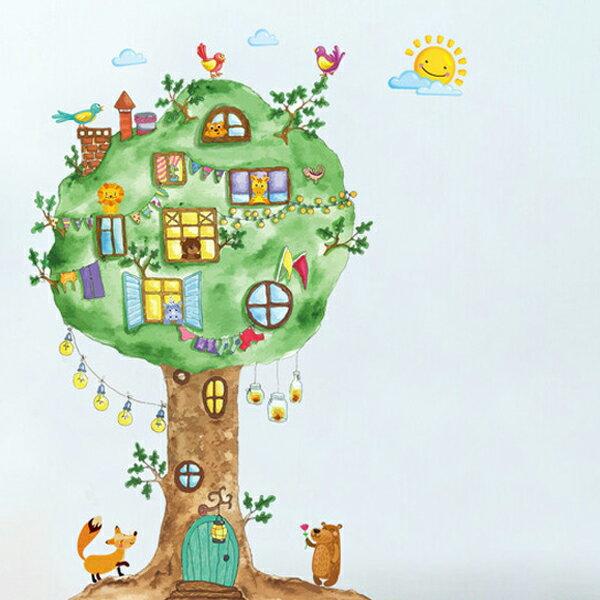 BO雜貨【YV1451-1】新款壁貼無痕創意壁貼居家裝飾牆貼樹屋窗與樹動物大樹王國ABC1057