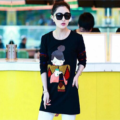 《任選2件55折》兩色,刺繡顯瘦長袖T恤 (2色,S~3XL) - ORead 自由風格 0
