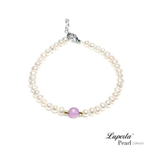 大東山珠寶 氣質婉約 紫水晶珍珠14K手鍊 氣質白 0