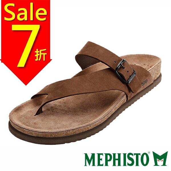 【全店免運】Mephisto 斜帶環扣式類勃肯涼拖鞋 咖啡