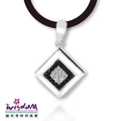 威世登 黑白時尚風 方塊白陶瓷黑白石925銀墬-送禮、情人禮、生日禮、流行款、熱銷款-SD00116-BBXX